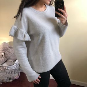 Sweater with Ruffled Sleeve